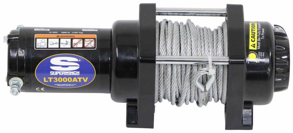 superwinch lt3000 atv winch - wire rope - roller fairlead - 3,000 - warn winch  solenoid