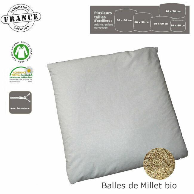 oreiller naturel en balles de millet bio