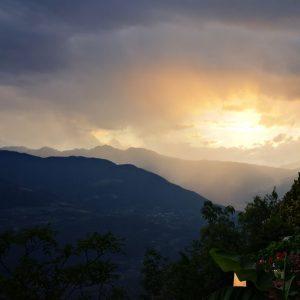 bel tramonto sulla val d'adige dalla terrazza