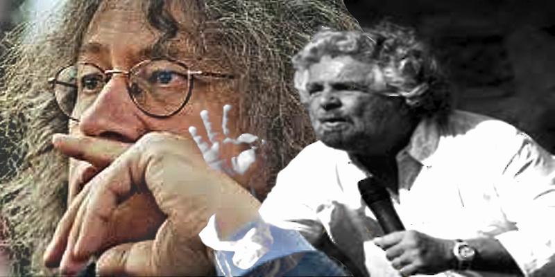 Beppe Grillo e, dietro, il suo guru, Gianroberto Casaleggio
