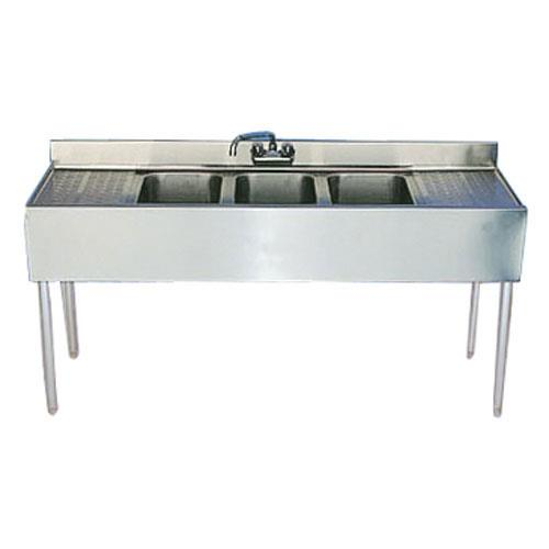 Krowne  1853C  60 in Three Compartment Bar Sink With