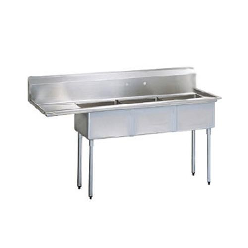 75 in three compartment sink w 18 in left drainboard