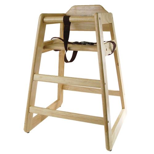 Wooden Restaurant Style High Chair Child Seat Natural Wood