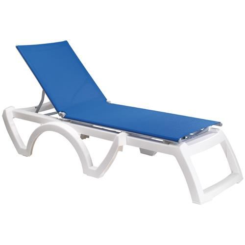 Grosfillex  US746006  BlueWhite Calypso Sling Chaise