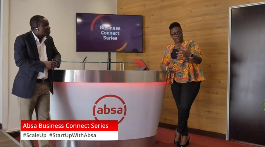 Kobla Nyaletey (left) and Grace Anim-Yeboah interacting with online participants during Absa Business Connect Series