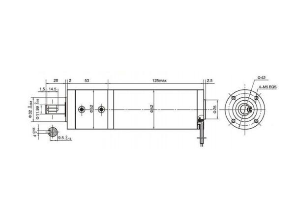 52JX200K/52ZY125 Permanent Magnet DC Gear Motor