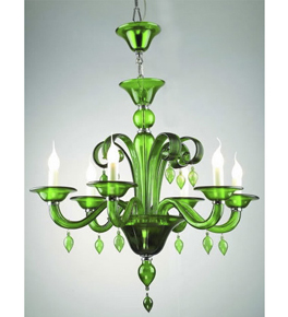 Murano Style Glass Chandelier With Hanging Beads And Crystals