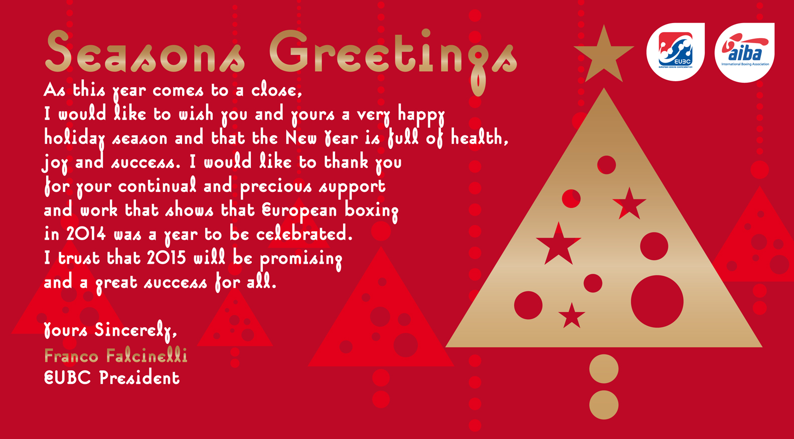 EUBC Office Closed FOR THE HOLIDAY SEASON FROM DECEMBER