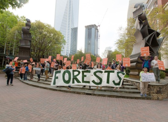Hundreds rally in opposition at the International Bioenergy Conference in Charlotte, North Carolina.