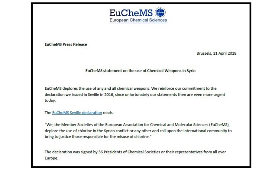 EuChemS Statement on the use of Chemical Weapons in Syria
