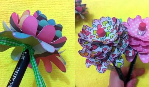 flor de papel com lápis