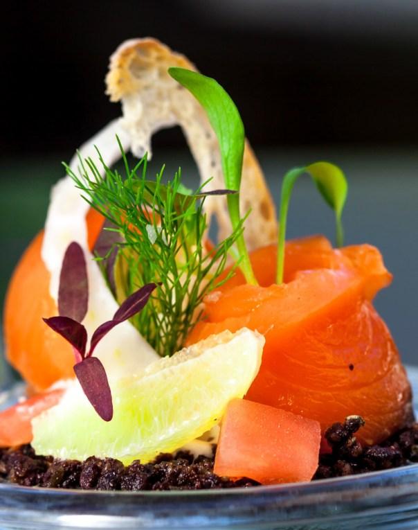 Myoga Restaurant - Smoked salmon with smoked cream cheese and smoked olives