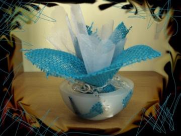 Μπομπονιέρα με Κουφωτό Κερί, Σιέλ