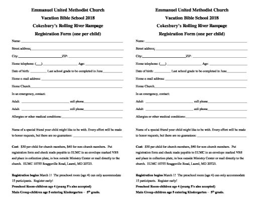 VBS 2018 Registration Form – Click on form to print