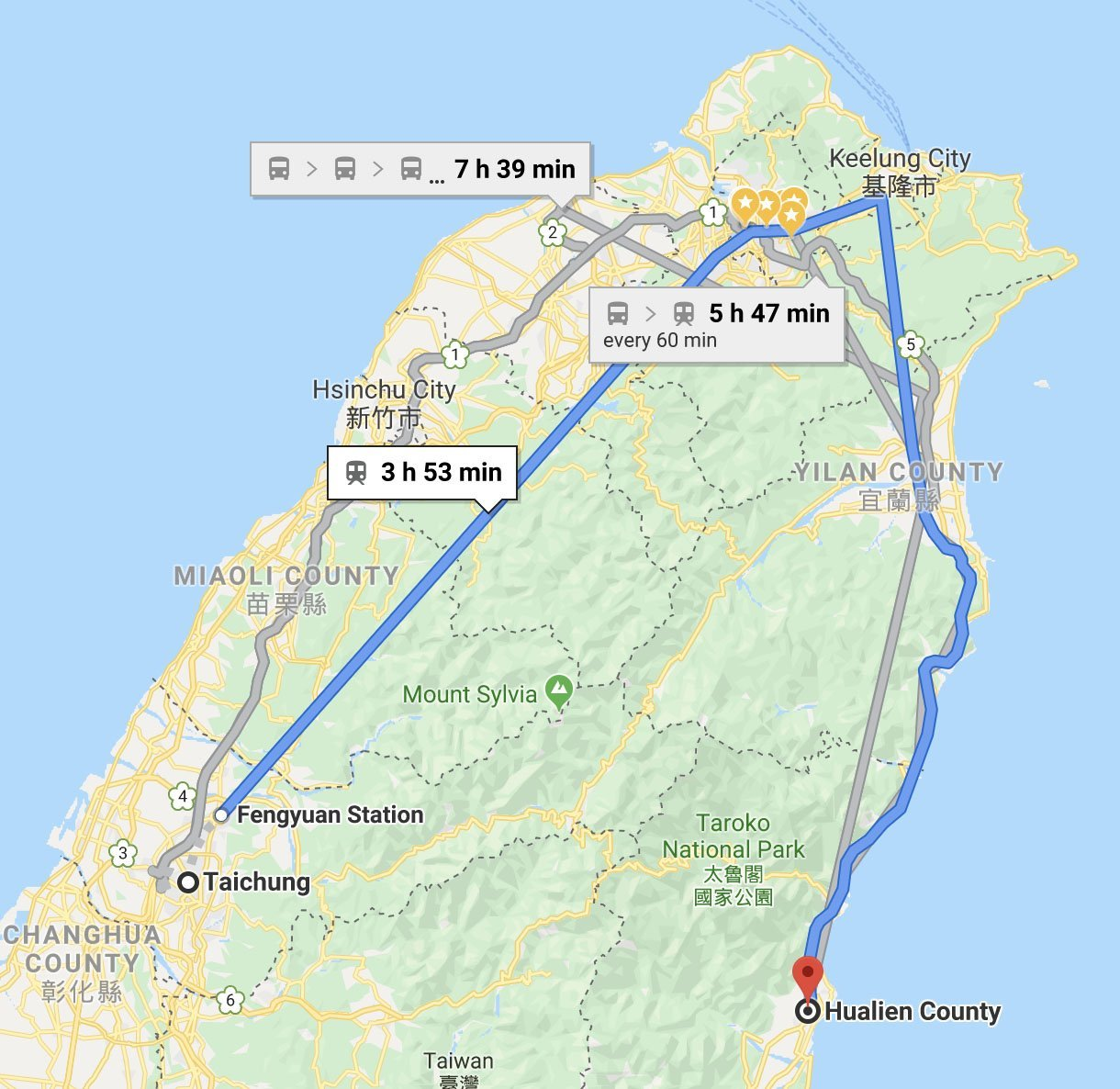 Taichung to Hualien