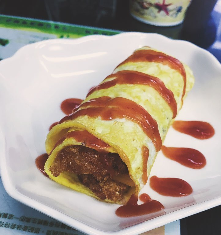 taipei vegetarian food - hashbrown omelette shu bing dan tan