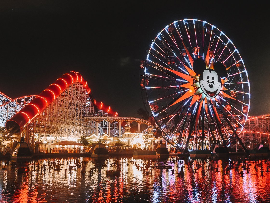 Night view of Pixar Pier, California Adventure, 2-week US itinerary