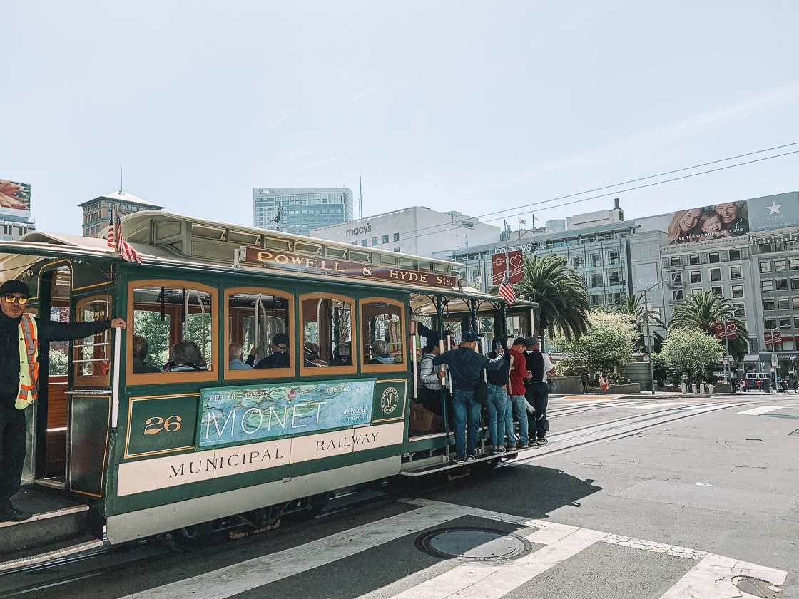 Cable car in San Francisco, 2-week US itinerary