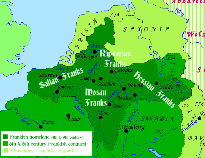 Map of the Frankish homeland in the late Antiquity and Early Middle Ages