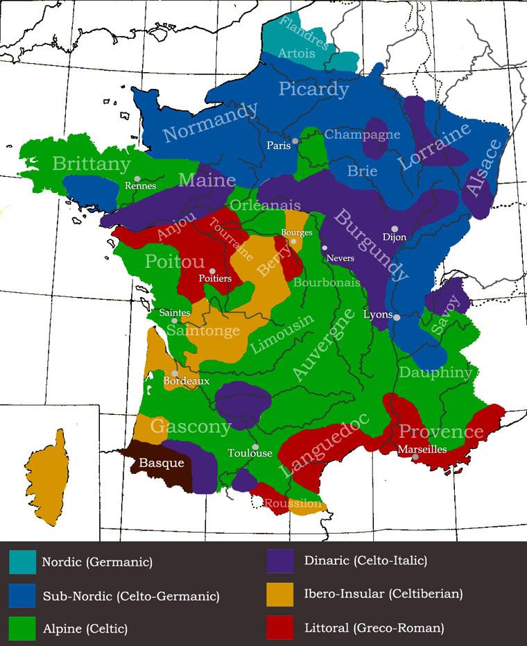 Carte de France, répartition des groupes génétiques (site www.eupedia.com)