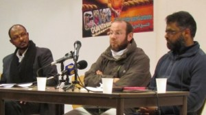 From left: former Guantanamo prisoners Sami El-Haj, Saber Lahmer and Moazzam Begg at a conference in Paris to mark the ninth anniversary of the opening of Guanatanamo