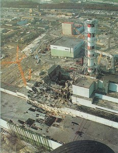 Chernobyl Disaster: The nuclear reactor after the disaster. Reactor 4 (center). Turbine building (lower left). Reactor 3 (center right)