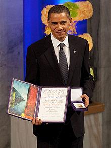 U.S. President Barack Obama receiving the 2009 Nobel Peace Prize