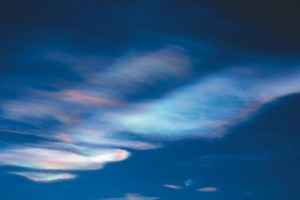 These clouds composed of frozen nitric acid and sulphuric acid form when temperatures in the stratosphere at an altitude of about 20 km fall below –78 degrees Celsius. This is currently the case in vast sections of the Arctic. Although these clouds are of natural origin – in isolated cases they have been substantiated by paintings from the 18th century – they have in the meantime become a portent of imminent ozone loss due to human activity. Chemical processes on the surface of the cloud particles transform the initially harmless degradation products of anthropogenically produced chlorofluorocarbons (CFCs) into aggressive ozone-depleting substances. Consequently the ozone-depleting impact of CFCs unfolds with full force whenever it is extremely cold in the stratosphere – like at the moment over the Arctic. Photo: Markus Rex, Alfred Wegener Institute