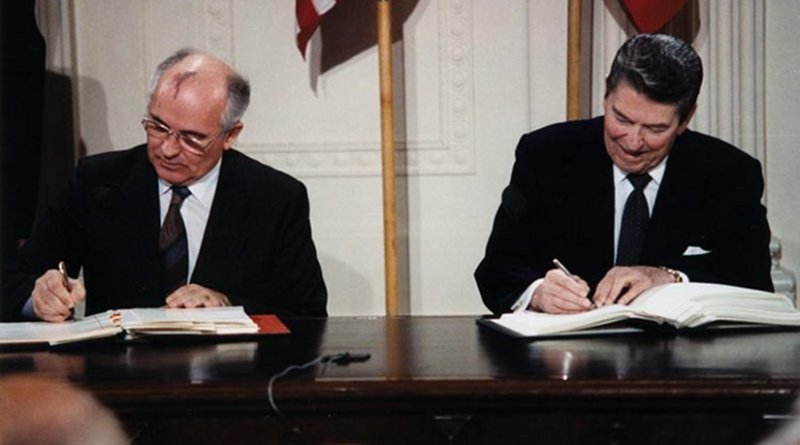 U.S. President Ronald Reagan and Soviet General Secretary Mikhail Gorbachev signing the INF Treaty in the East Room at the White House in 1987. Source: White House Photographic Office, Public Domain, Wikipedia Commons.