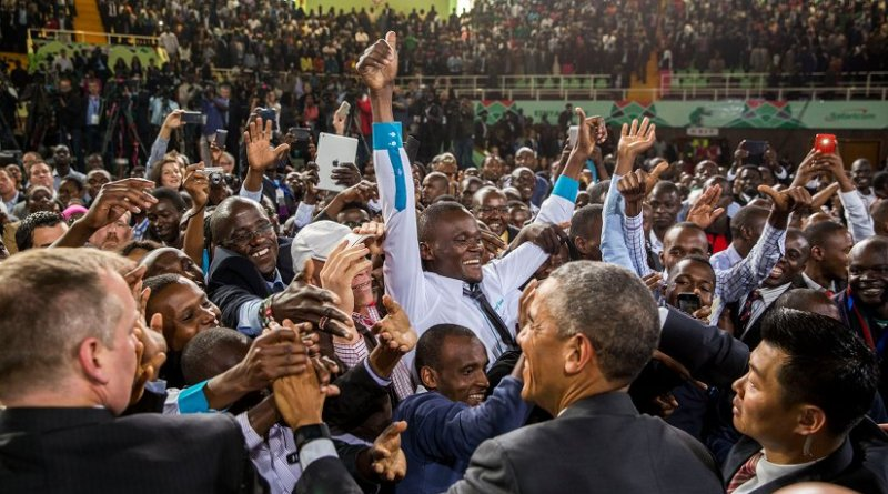 Greeting the audience at the Safaricom Indoor Arena in Nairobi, Kenya, July 26, 2015. (Official White House Photo by Pete Souza).