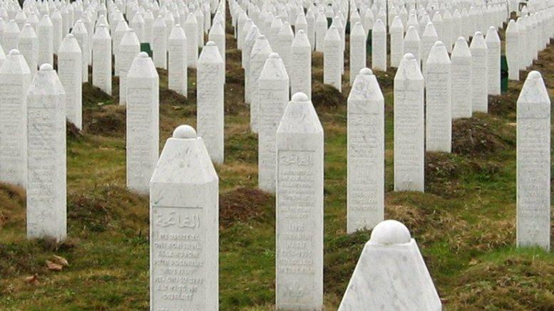 Gravestones at the Potočari genocide memorial near Srebrenica. Photo by Michael Büker, Wikipedia Commons.