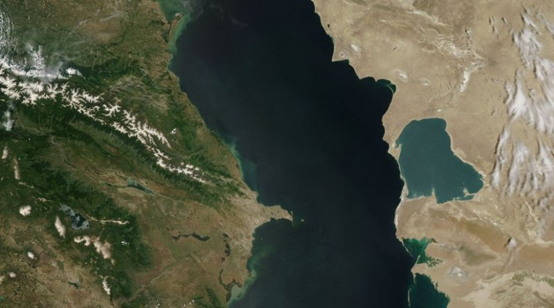 Caspian Sea from orbit. Photo Credit: Jeff Schmaltz, MODIS Rapid Response Team, NASA/GSFC, Wikipedia Commons.