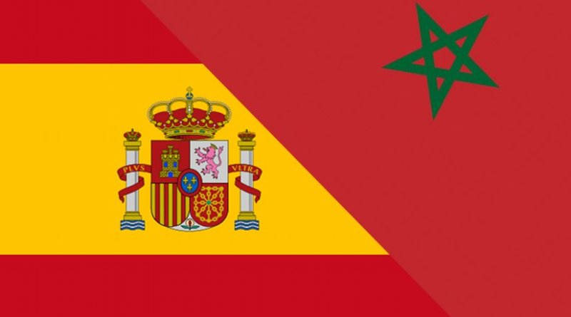 Flags of Morocco and Spain