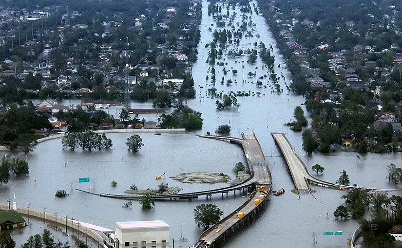 New Orleans, Louisiana in the aftermath of Hurricane Katrina. Photo by U.S. Coast Guard, Petty Officer 2nd Class Kyle Niemi, Wikipedia Commons.