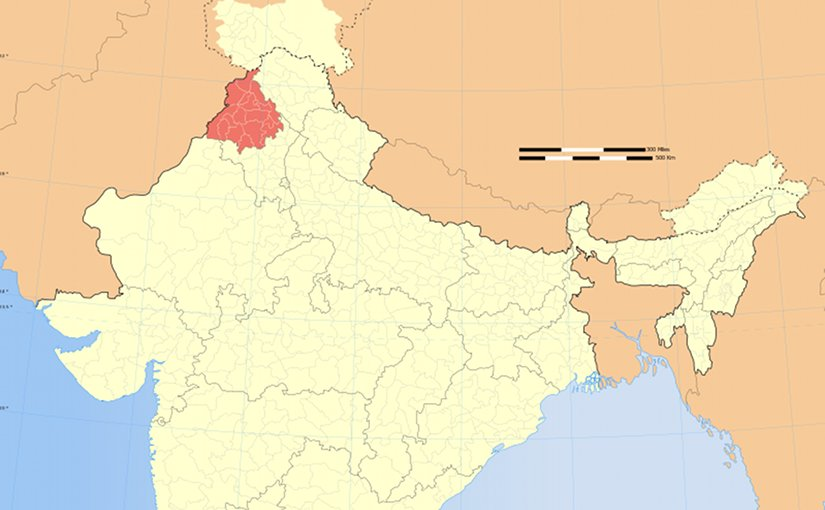 Location of Punjab in India. Source: Wikipedia Commons.