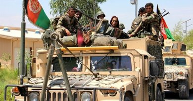 Afghan National Army troops move out from the 201 Corps headquarters at Tactical Base Gamberi in Laghman province, Afghanistan, in preparation for Operation Iron Triangle, July 30, 2015. U.S. Army photo by Capt. Jarrod Morris