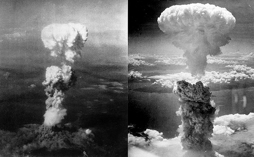 Atomic bomb mushroom clouds over Hiroshima (left) and Nagasaki (right). Photo taken by Charles Levy, Wikipedia Commons.