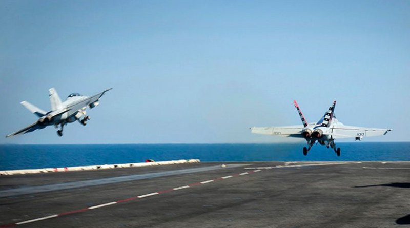 F/A-18F Super Hornets of VFA-22 launch from USS Carl Vinson (CVN-70), supporting Operation Inherent Resolve. (U.S. Navy photo by Mass Communication Specialist 2nd Class Scott Fenaroli/Released)