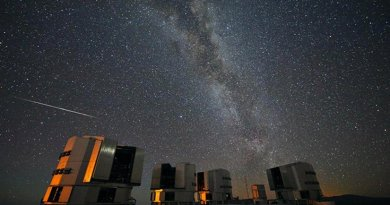 A Perseid seen in August 2010 above the four enclosures of the European Southern Observatory's Very Large Telescope at Paranal, Chile. Credit: ESO / S. Guisard