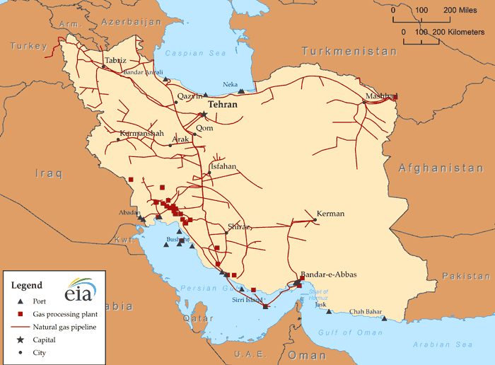 Iran S Natural Gas Infrastructure Source U S Energy Information Administration Ihs Edin