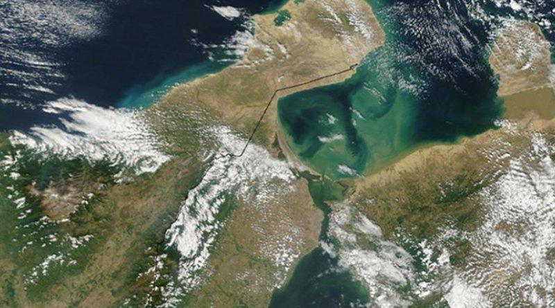 Satellite image of Guajira Peninsula and Gulf of Venezuela. From: Jeff Schmaltz