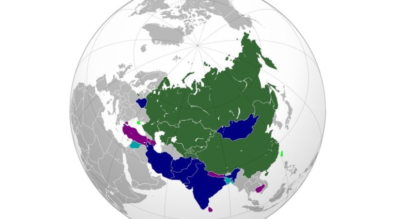Map of the Shanghai Cooperation Organisation (SCO). Source: WIkipedia Commons.