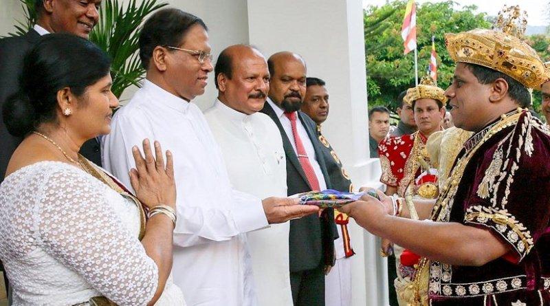 Sri Lanka's Maithripala Sirisena at the completion ceremony of the Kandy Esala Perahera.