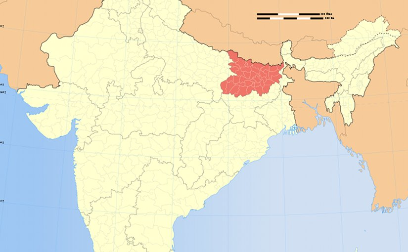 Location of Bihar in India. Source: WIkipedia Commons.