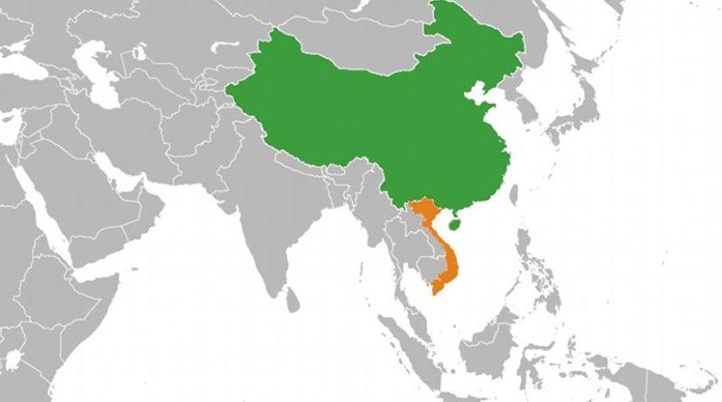 Location of China (green) and Vietnam (orange). Source: WIkipedia Commons.