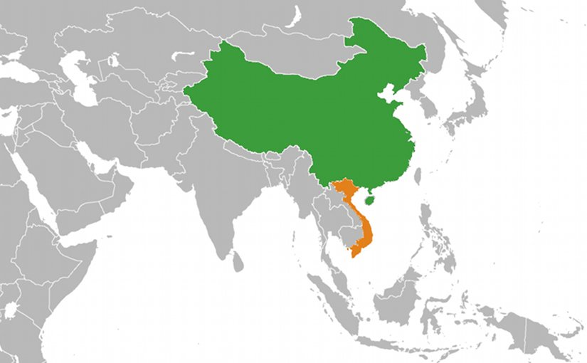 Location of China (green) and Vietnam (orange). Source: WIkipedia Commons.