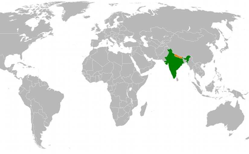 Location of India and Nepal. Source: Wikipedia Commons.