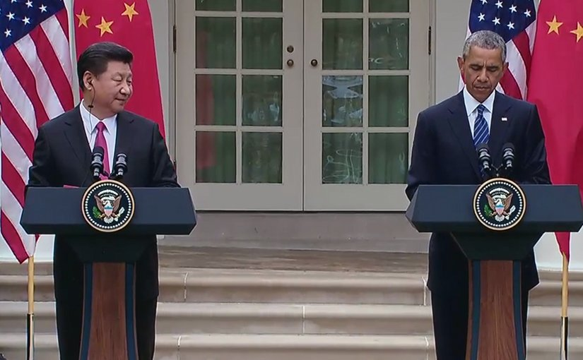 US President Obama and China's President Xi Hold a Joint Press Conference, Source: Screenshot from White House video.