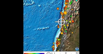 Location of 8.3 earthquake in Chile. Credit: NOAA.