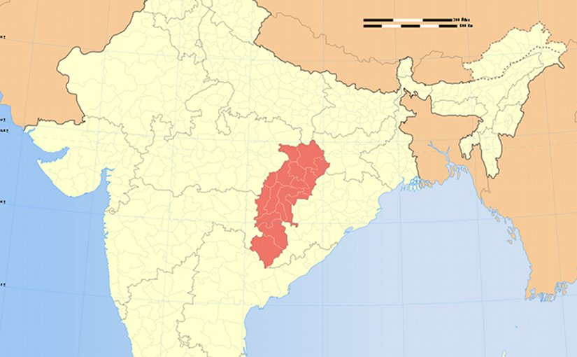 Location of Chhattisgarh in India. Source: WIkipedia Commons.